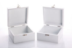 White wood box open of the product Royalty Free Stock Photo