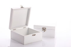 White wood box of the product Stock Images