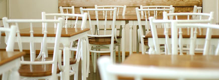 White and wood cafe Stock Photos