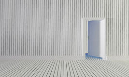 The white wood door open to room with wooden wall background-3d Royalty Free Stock Photography