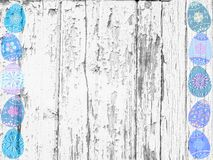 Whitewashed wood and Easter eggs background texture stock illustration
