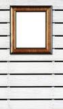White wood fence background with photo frame Stock Photo