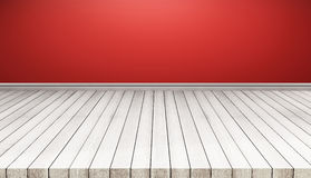 White wood floor panels with red wall. texture background. also used for display or montage your products. White wood floor panels with red wall. texture vector illustration