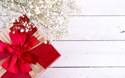 White wood floor and red gift box valentine days Royalty Free Stock Photography
