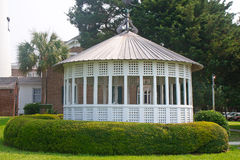 White Wood Gazebo in Green Park Royalty Free Stock Photography