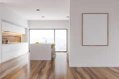 White wood kitchen interior, bar wall poster Stock Photography