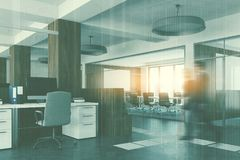 White and wood open space, meeting room corner. White open space office interior with an aquarium like conference room, wooden columns and a row of computer Royalty Free Stock Photos