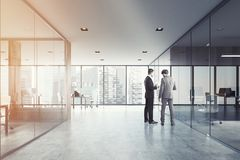 White and wood open space and meeting room, men Stock Photo