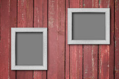 White wood picture frame on Red wall Stock Photos