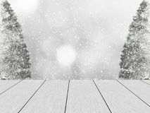 Winter design with white wood planks. White wood planks, in the background blurred bokeh, snowy pine and snowfall. Space for the text stock illustration