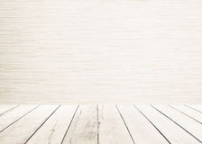 White wood planks floor with wood wall Interior and white wooden floor sepia tones. Royalty Free Stock Image