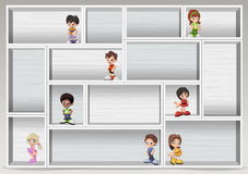 White wood shelf with happy cartoon children. Royalty Free Stock Photo
