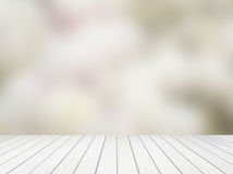 White wood terrace with abstract blur Royalty Free Stock Image