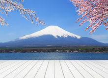 White wood terrace with Mt Fuji Royalty Free Stock Photos