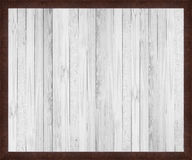 White wood texture with rusty steel frame. Bakgrounds Royalty Free Stock Photography