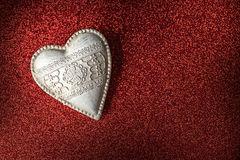 White wood valentine heart on red background, valentines day or celebrating love Royalty Free Stock Photos