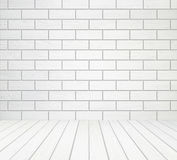 White wood wall (block style) and wood floor background Royalty Free Stock Image