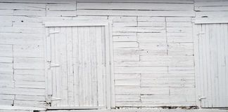 White wood wall old planks and wooden doors background texture Stock Photo