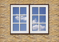 White wood window on stone walls Royalty Free Stock Photo