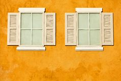 White wood windows on wall stock photos