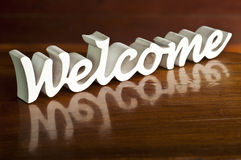 White woodcraft welcome word. Stock Image