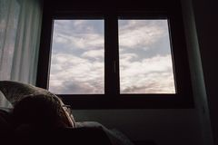 White Wooden 1-pane Side-by-side Window Royalty Free Stock Photos
