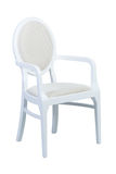 White wooden armchair with soft seat isolated Royalty Free Stock Image