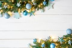 Turquoise Christmas Banner, Frame, Fir Branches. White Wooden Background With Copy Space For Advertisement. Christmas Banner With Turquoise Frame Christmas Stock Photos