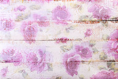 White wooden background with floral pattern Stock Images
