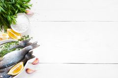 White wooden background with fresh raw fish Stock Photo