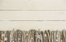 White wooden background with a maritime decoration Stock Photos