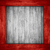 White wooden background in red wood frame. Or grey planks texture Stock Image