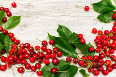 White wooden background with scattered cherries with leaves Royalty Free Stock Image