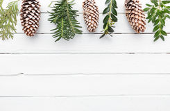 White wooden background with snow covered pinecones Royalty Free Stock Photography