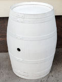 White wooden barrel as street decoration Stock Images