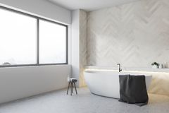 White wooden bathroom corner, round tub. White bathroom corner with a concrete floor and a round tub standing near a large window. 3d rendering mock up royalty free illustration