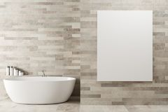 White wooden bathroom, poster, tub. White wooden bathroom interior with a round white tub in the corner and a large vertical poster on the wall. 3d rendering stock illustration