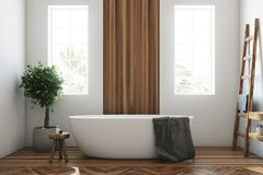White and wooden bathroom, white tub closeup. White and wooden bathroom interior with a wooden floor, a white tub, a tree in a pot, two narrow windows and a stock illustration