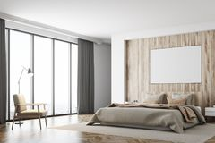 White and wooden bedroom, poster, side stock illustration