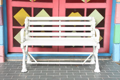 White wooden bench Royalty Free Stock Photography