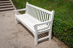 White wooden bench Stock Images