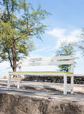 White wooden bench Stock Photography