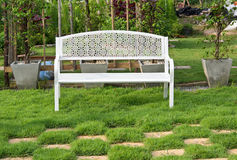 White Wooden Bench Stock Photos