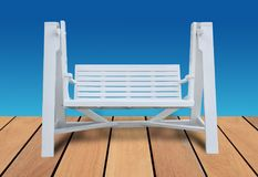 White wooden benches on a wooden background color is blue with c. Lipping path royalty free stock photos