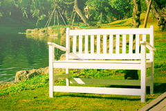 White wooden bent near lake Stock Photography