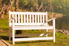 White wooden bent near lake Stock Images