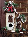 White wooden birdhouse Royalty Free Stock Images