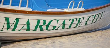Boat on the beach in Margate New Jersey royalty free stock images