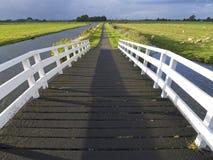A white wooden bridge stock photos