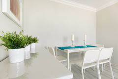White wooden cabinet and table Royalty Free Stock Images